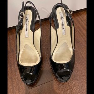 Brian Atwood black patent heels shoes 6 1/2 SEXY